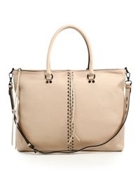 Rebecca Minkoff | Natural Moto Leather Zip Tote | Lyst