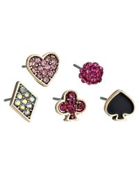 Betsey Johnson | Pink Casino Royale 5 Set Stud Earrings | Lyst