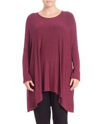 Eileen Fisher | Pink Boxy Scoopneck Sweater | Lyst