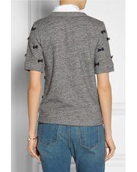 J.Crew - Gray Bow Embellished Cotton Blend Sweatshirt - Lyst