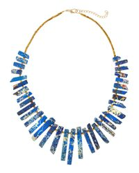 Panacea - Blue Tapered Jasper Stick Necklace - Lyst