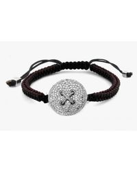 Tateossian | Button Micro Pavé Macramé Bracelet With White Diamonds for Men | Lyst