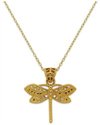 Macy's - Metallic Filigree Dragonfly Pendant Necklace In 24k Gold Over Sterling Silver - Lyst