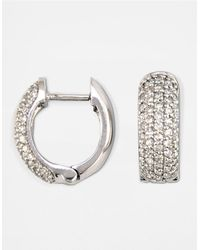 Effy | Metallic Diamond And 14k White Gold Pave Huggie Hoop Earrings, 0.53tcw | Lyst