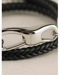 Ferragamo - Black Braided Bracelet for Men - Lyst