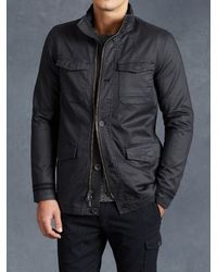 John Varvatos | Black Coated Cotton Military Coat for Men | Lyst