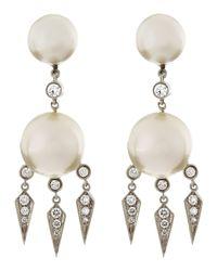 Assael - 18k White Gold Diamond South Sea Pearl Earrings - Lyst
