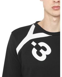 Y-3 - Black Logo Detail Cotton Sweatshirt for Men - Lyst
