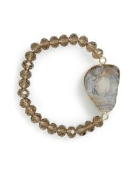 Panacea | Gray Smoky Drusy Stretch Bracelet | Lyst