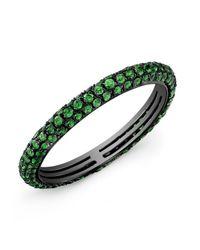 Anne Sisteron - 14kt Oxidized White Gold Green Garnet Ring - Lyst