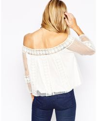 ASOS | White Top With Off Shoulder And Pretty Spot Lace | Lyst