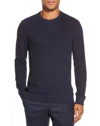 Ted Baker | Blue 'reeko' Ribbed Crewneck Sweater for Men | Lyst