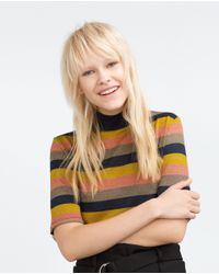 Zara | Blue Striped T-shirt | Lyst