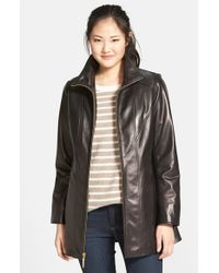 Ellen Tracy - Black Leather A-line Coat - Lyst