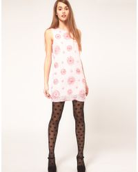 ASOS | Shift Sequin Dress With Pink Flowers | Lyst