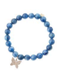 Sydney Evan - Blue Kyanite Round Beaded Bracelet With 14K Gold/Diamond Small Butterfly Charm (Made To Order) - Lyst