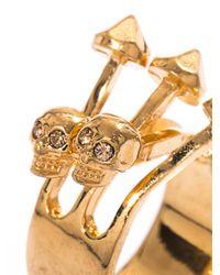 Alexander McQueen - Metallic Contrarie Skull Arrow Ring - Lyst