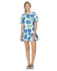 Cynthia Rowley - Blue Floral Print Ruffle Dress - Lyst