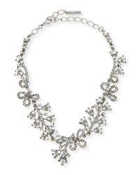 Oscar de la Renta - Metallic Floral Baguette Crystal Necklace - Lyst
