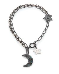 Lanvin - Black Crystal Moon & Star Charm Necklace - Lyst