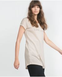 Zara | Natural Long Printed T-shirt | Lyst