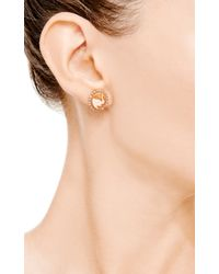 Amedeo - Pink Handcarved Cornelian Shell Cameo Earrings Set in Roseplated Silver with Brown Diamonds - Lyst