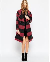 Helene Berman | Multicolor Charcoal & Berry Stripe Double Button Coat | Lyst