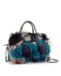 Pinko | Gray Attivita Genuine Fox Fur And Grey Leather Satchel | Lyst