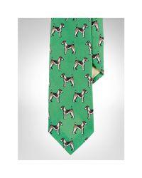 Polo Ralph Lauren - Green Dog-Print Linen Narrow Tie for Men - Lyst