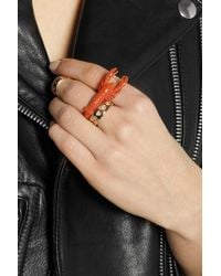 Virzi+de Luca - Orange Enameled Goldplated Lobster Ring - Lyst