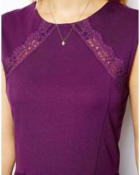 ASOS - Purple Peplum Top with Lace Inserts - Lyst