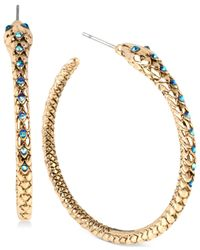 Betsey Johnson | Metallic Gold-tone Blue Crystal Pavé Snake Hoop Earrings | Lyst