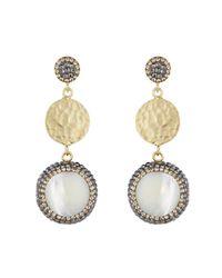 Soru Jewellery - Metallic Mother Of Pearl & Coin Earrings Gold - Lyst