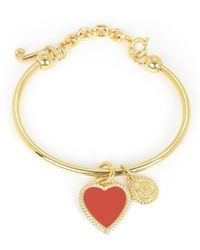 Juicy Couture | Metallic Enamel Heart Slider Bangle Bracelet | Lyst