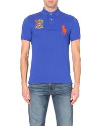 Pink Pony | Blue Branded Cotton-piqué Polo Shirt for Men | Lyst