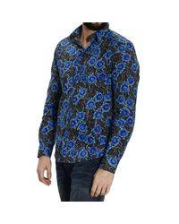 John Richmond - Blue Printed Cotton Long Sleeve Shirt for Men - Lyst