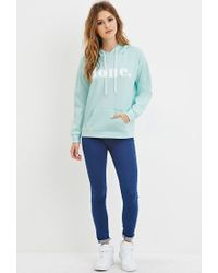 Forever 21 | Green Scuba Knit Done Graphic Hoodie | Lyst