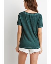 Forever 21 | Green Faded V-neck Tee | Lyst