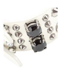 Miu Miu - Metallic Embellished Leather Bracelet - Lyst