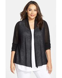 Eileen Fisher | Black Wool Mesh Shaped Cardigan | Lyst