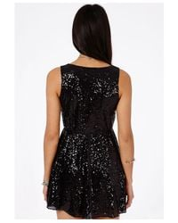 Missguided - Diona Sequin Wrap Over Skater Dress In Black - Lyst