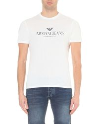 Armani Jeans | White Eagle Logo-print Cotton T-shirt for Men | Lyst
