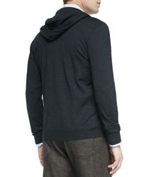 Kiton - Gray Cashmere-Blend Zip-Front Hoodie for Men - Lyst