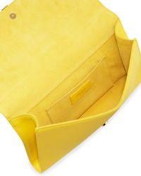 Saint Laurent   Y Ligne Clutch Bag Yellow   Lyst