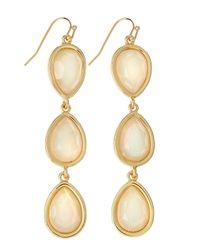 Fragments - Opalescent Threetier Drop Earrings White - Lyst