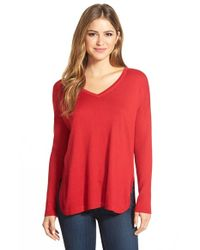 Vince Camuto | Red Rib Sleeve High/low V-neck Sweater | Lyst