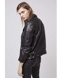 TOPSHOP - Black Distressed Leather Biker Jacket - Lyst