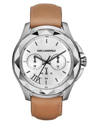 Karl Lagerfeld - Brown 'karl 7' Chronograph Leather Strap Watch - Lyst