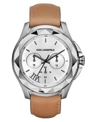 Karl Lagerfeld | Brown 'karl 7' Chronograph Leather Strap Watch | Lyst