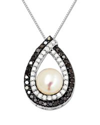 Lord & Taylor | Metallic Sterling Silver Pearl And Diamond Pendant | Lyst